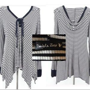 Black & White Striped Asymetrical Tunic